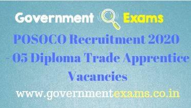 POSOCO Diploma Trade Apprentice Recruitment 2020