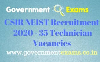 NEIST Technician Recruitment 2020