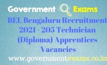 BEL Bengaluru Apprentice Recruitment 2021