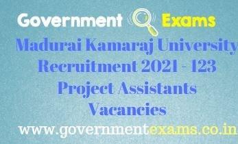 Madurai Kamaraj University Project Assistants Recruitment 2021