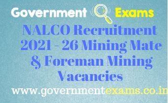 NALCO Mining Mate Foreman Mining Recruitment 2021