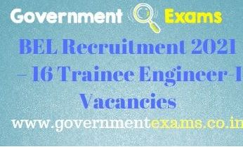 BEL Trainee Engineer I Recruitment 2021