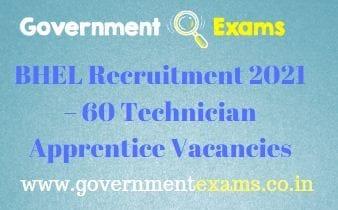 BHEL Ranipet Technician Apprentice Recruitment 2021