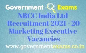 NBCC India Marketing Executive Recruitment 2021