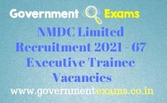 NMDC Ltd Executive Trainee Recruitment 2021