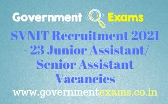 SVNIT Junior Assistant Recruitment 2021
