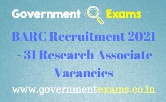 BARC Research Associate Recruitment 2021