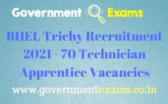 BHEL Trichy Technician Apprentice Recruitment 2021