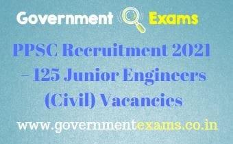 PPSC Junior Engineer Recruitment 2021