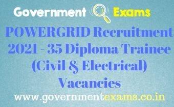 POWERGRID Diploma Trainee Recruitment 2021