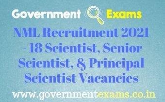 CSIR NML Scientist Recruitment 2021