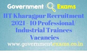 IIT Kharagpur Professional Industrial Trainee Recruitment 2021
