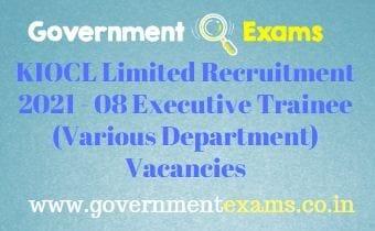 KIOCL Executive Trainee Recruitment 2021