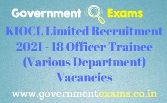 KIOCL Officer Trainee Recruitment 2021