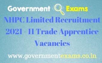 NHPC Limited Trade Apprentice Recruitment 2021
