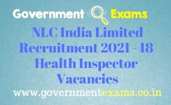 NLC India Limited Health Inspector Recruitment 2021