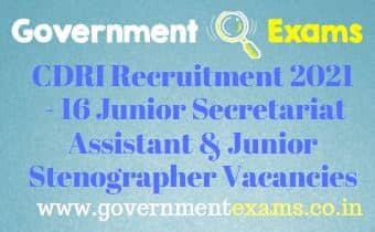 CSIR CDRI Jr Secretariat Assistant Stenographer Recruitment 2021