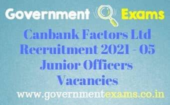 Canbank Factors Ltd Junior Officers Recruitment 2021