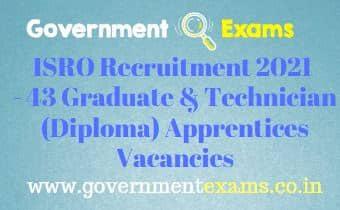 ISRO Graduate Diploma Apprentices Recruitment 2021