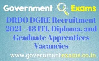 DRDO DGRE ITI Diploma Graduate Apprentice Recruitment 2021