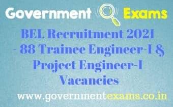BEL Panchkula Trainee Project Engineer Recruitment 2021