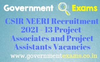 NEERI Project Assistant Associate Recruitment 2021