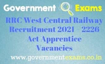 RRC West Central Railway Apprentice Recruitment 2021